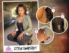 { Style Snapshot } A mixed metal necklace is one of the most versatile pieces of jewelry you can find. It allows you to change your look completely by adding accent pieces in the different finishes. Here, we've added copper earrings, copper bangles, and one gold bangle for a warm, fall look.  1 - Straight to the Point - Copper (Earrings) - NEW! 2 - All Signs Point to Yes - Copper (Necklace) - NEW! 3 - Let's Do the Twist (Bracelet) - NEW!