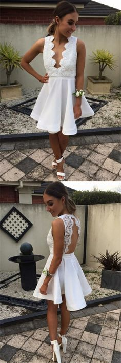 white homecoming dress, 2017 homecoming dress, lace homecoming dress, short homecoming dress prom dress