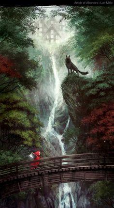 art, illustration, little red riding hood, figure, girl, animal, wolf, landscape, waterfall, house
