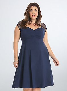 Plus Size Mesh Dot Inset Swing Dress, NAVY