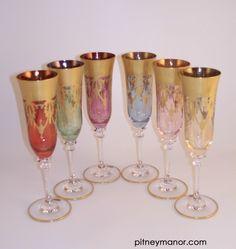 Damask champagne flutes