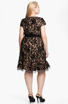 Tadashi Shoji Lace Overlay Dress (Plus Size) Party Dresses For Women, Sexy Dresses, Dresses With Sleeves, Formal Dresses, Plus Size Cocktail Dresses, Plus Size Dresses, Lace Overlay Dress, Tadashi Shoji, Curvy Women Fashion