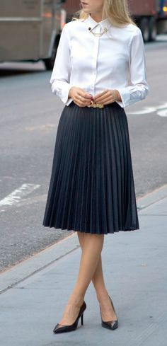 The Classy Cubicle: Coated Pleats and Collar Tips. The fashion blog for professional women in need of office style inspiration and work wear ideas for the corporate world and beyond. {zara, brooks brothers, asos, ralph lauren, gorjana, pointed pumps, coated pleated midi skirt, oxford shirt, stacked rings, circle jewelry collar pins tips, fall fashion}