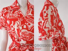 Vintage 1970s Belted Shift Dress in Red on White 20s Flapper Print by BeeDeeVintage