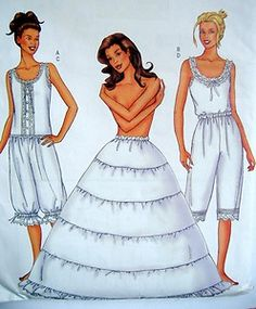 Butterick 6884.  size 6-8-10 and 18-20-22 camisole petti[ants, bloomers, camisole, hoopskirt 2000