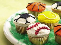 Sports Cupcakes Score big with these easy sports cupcakes that include basketball, soccer, tennis and baseball!