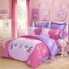 LOVO Sweety Kitty 100% Cotton 4pcs Bedding Set 1x Duvet Cover, 1x Flat Sheet and 2x Pillowcases Multi-color Queen