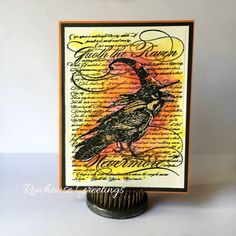 I took a break from Copics AND Christmas to put together this Halloween card using my Prisma water brush and a variety of Distressed Inks. I stamped the central image-- Raven by Stampendous -- wit...