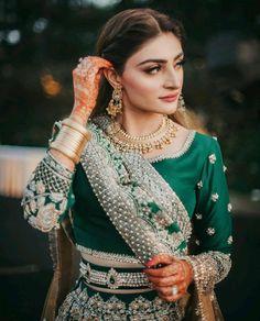 Green Lehenga, Muslim Brides, Asian Bridal, Bride Look, Party Looks, Indian Designer Wear, Muslim Fashion, Wedding Attire, Wedding Dress