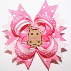 """4"""" Valentine's Day Horse Hot Pink White Polka Dots Stacked Hair Bow"""