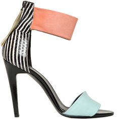 Pierre Hardy mixed media ankle-cuff sandal in black patent leather, baby blue suede, striped snakeskin and peach suede - Cynthia Reccord