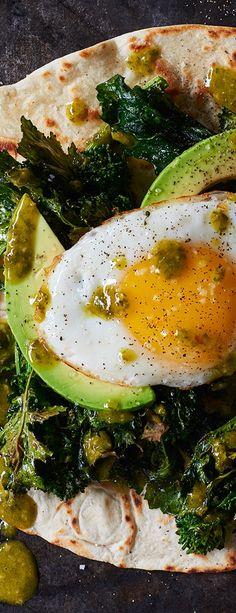 Roasted Broccoli Rabe, Avocado & Egg Tostada With Chimichurri Mexican Food Recipes, Vegetarian Recipes, Cooking Recipes, Healthy Recipes, Healthy Dinners, Brunch Recipes, Breakfast Recipes, Savory Breakfast, Chimichurri