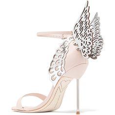 Sophia Webster Evangeline leather sandals ($560) ❤ liked on Polyvore featuring shoes, sandals, high heels sandals, strappy sandals, bride shoes, pink leather sandals and leather strap sandals