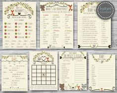This adorable baby shower games package is perfect way to entertain all your guests with a variety of activities. Te package includes seven different games, You can use them all or just a few - either way our package deal will save you money! ►This is a digital INSTANT DOWNLOAD listing In the package Include: 1 - Baby Shower Bingo Simply pass them around during the Baby Shower where guests will have fun filling them out with gifts they think mom-to-be will receive. Guests will then mark…