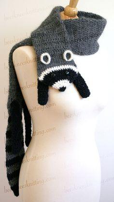 Digital PDF Crochet Pattern for Raccoon Scarf by BeesKneesKnitting, $6.00