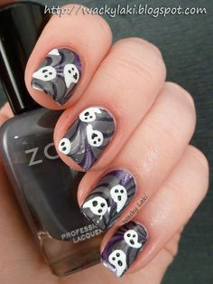 Ghost & Goblins Nail Art with Zoya Nail Polish in Kelly