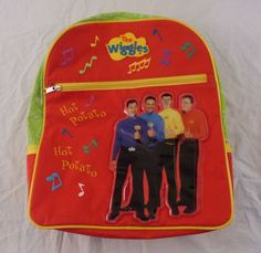 "The Wiggles Backpack Book Bag w/ Original Cast ""Hot Potato"" Kids Child 2004 #Unbranded"
