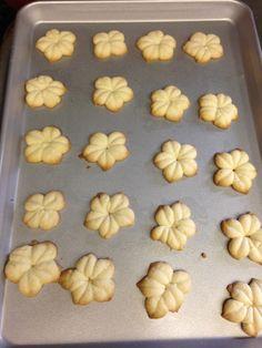 Rosquette (Guamanian cookies) in the shape of plumeria flowers. GUAM Family Recipe