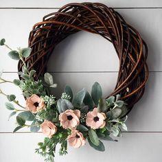 Felt Flower Wreath  Anemone  Wreath  Twig Wreath