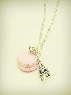 Vintage Eiffel Tower & Macaron Necklace