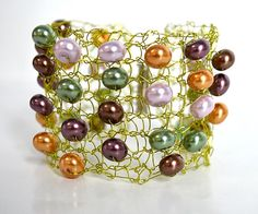 Green Peridot Wire Bracelet Cuff Statement Jewelry Unique by I. M. Wyred