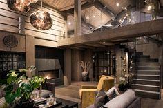 Kvitfjell – Spektakulær stavlafthytte med særdeles høy standard, fantastisk u… Lofts, Modern Lodge, Rustic Modern, Interior Design And Construction, Timber Frame Homes, Lodge Style, Cabin Interiors, Home Hacks, House In The Woods