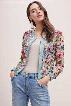 Slide View: 1: Floral Embroidered Mesh Bomber Jacket