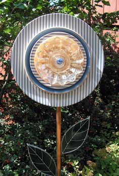 Garden Art Flower Plate with Copper Stem by SerendipityGlassWrks, $45.00