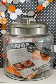 Time capsule for baby - make on the child's first birthday to open on their 18th (have friends/family bring notes/items to put in it as well) - what a great idea...the entire party theme on this site is very cool.