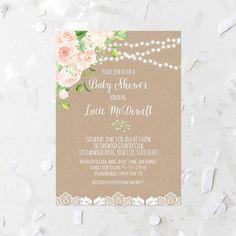 Rustic Floral Bridal Shower Invitation Printable Rose Bridal Shower Invite Pearls and Lace Bridal Invitation Kraft Paper Bridal Invite Pink