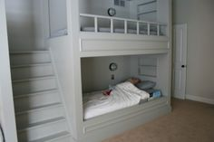 We're doing this at our next house. I love the stair idea instead of the ladder, it would be so much easier for little feet. And the little built in shelf where they could keep their bibles...so fun!