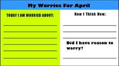 My Worries Activity for counseling students with anxiety