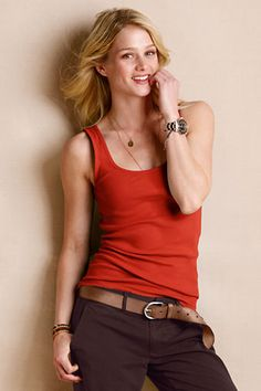 Outfit 5: The Heritage Rib Tank Top from Lands' End Canvas in hot streak! This sweet tank will add a hot streak of color to any outfit! #CanvasChinos
