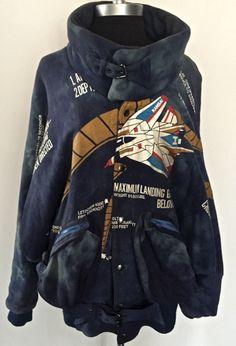 Vintage 1970s/1980s Kansai Yamamoto flight jacket with cloud pattern and original manga tag.