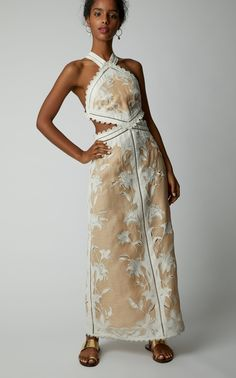Shop Lily Cutout Silk And Linen-Blend Halterneck Dress. Part of the Resort collection, Zimmermann's 'Lily' dress has lace-trimmed side cutouts and a bow-tied back. Lace Trim, Lily, My Style, Wedding, Collection, Dresses, Women, Fashion, Valentines Day Weddings