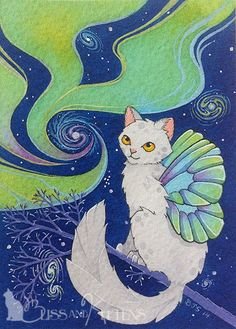 ACEO fantasy art Cat fairy star galaxy Aurora Borealis NFAC MOUSSART sky kitty