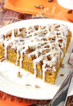 This Cinnamon Streusel Pumpkin Coffee Cake is the perfect fall breakfast! It's easy to put together, so moist and full of pumpkin - yes!