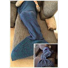 Handgemachte gestrickte Nixeendst�ck Decke, Sofa Quilt Wohnzimmer Decke f�r Erwachsene und Kinder 190cm X90cm (Blau)