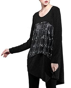 ELLAZHU Women Long Sleeve Irregular Hem Front Sequin Blouse Dress DY104 Black * Check out this great product.