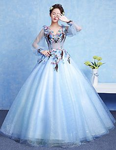 Formal+Evening+Dress+Ball+Gown+V-neck+Floor-length+Tulle+with+Appliques+/+Flower(s)+–+GBP+£+303.40