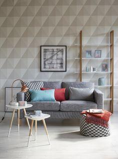 sala de estar, madeira, branco, cinza, estampa geométrica, estante, papel de parede