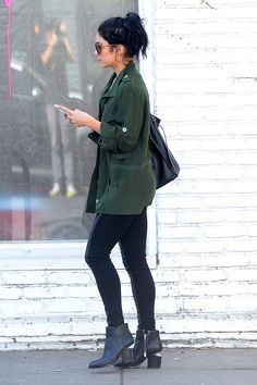 Floating boots / strange but chic / street style Vanessa Hudgens edgy casual