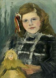 Elisabeth Büchsel (German painter) 1867 - 1957 Bildnis eines Mädchens mit Puppe, ca. 1940 oil on canvas 68 x 58 cm.