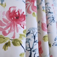 "Stunning ""Eastern Charm"" pink peony fabric with indigo blue bonsai trees. In stock at www.tonicliving.com"