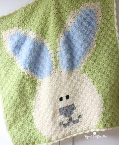 Crochet Bunny Blanket - Repeat Crafter Me C2c Crochet Blanket, Crochet Mittens, Crochet Pillow, Crochet Bunny, Crochet Blanket Patterns, Crochet For Kids, Baby Patterns, Crochet Toys, Crochet Blankets