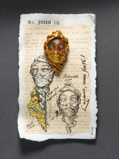 """KEVIN COATES LAZARUS, COME FORTH!  20ct. gold, carved fire-opal inlaid with blue opal, silver, 18ct. white gold pin.  height (without pin) 46.5mm. width 27mm.  From """"A Notebook of Pins."""" Photo: Clarissa Bruce"""