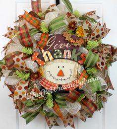 Fall Scarecrow Wreath Fall Wreath Deco by WruffleWreathsbyLana Fall Ribbon Wreath, Burlap Ribbon Wreaths, Deco Mesh Wreaths, Diy Wreath, Wreath Making, Wreath Crafts, Wreath Ideas, Thanksgiving Wreaths, Autumn Wreaths