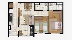 Planta de 59 m² com 2 dorms