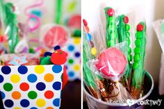 The Very Hungry Caterpillar Birthday Party: Party Favors: Pom Pom Caterpillars and Pretzels Caterpillars