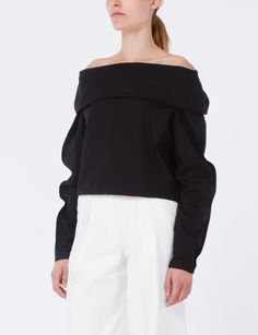 Lemaire Bare-Shoulder Blouse is lightweight, long sleeve, cotton top with dramatic collar that folds over shoulders. Buttons at cuffs Slightly cropped 100% Cotton   fashion   style   wardrobe   clothing   for tall women